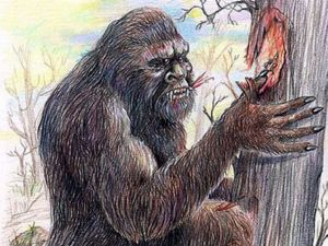 Yowie scratching tree
